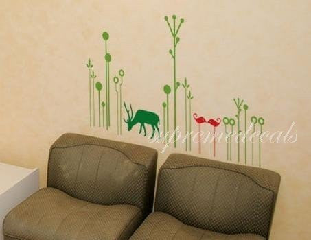 Custom PopDecals - A little deer in the jungle - Beautiful Tree Wall Decals for Kids Rooms Teen Girls Boys Wallpaper Murals Sticker Wall Stickers Nursery Decor Nursery Decals - PopDecors,Home, PopDecals, PopDecors