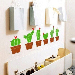 Custom Color PopDecals - Set of Six Cactus - removable vinyl art wall decals home decor