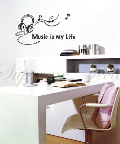 Custom PopDecals - Music is my life - Beautiful Tree Wall Decals for Kids Rooms Teen Girls Boys Wallpaper Murals Sticker Wall Stickers Nursery Decor Nursery Decals - PopDecors,Home, PopDecals, PopDecors
