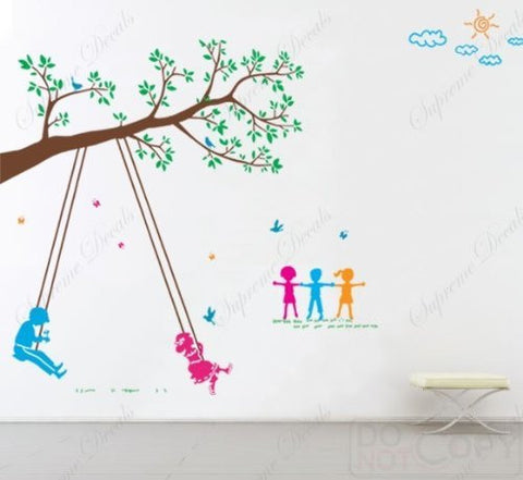 Custom PopDecals - Children Play Swing - Beautiful Tree Wall Decals for Kids Rooms Teen Girls Boys Wallpaper Murals Sticker Wall Stickers Nursery Decor Nursery Decals - PopDecors,Baby Product, PopDecals, PopDecors