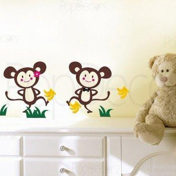 PopDecors - Monkey Brother and Monkey Sister - Custom Beautiful Tree Wall Decals for Kids Rooms Teen Girls Boys Wallpaper Murals Sticker Wall Stickers Nursery Decor Nursery Decals - PopDecors,Baby Product, Pop Decors, PopDecors