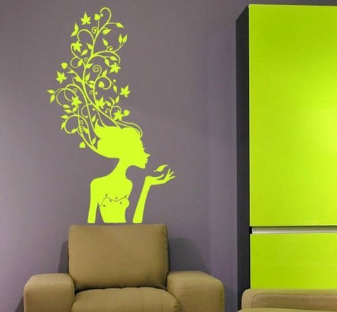 Custom PopDecals - Spring girl - Beautiful Tree Wall Decals for Kids Rooms Teen Girls Boys Wallpaper Murals Sticker Wall Stickers Nursery Decor Nursery Decals - PopDecors,Home, PopDecals, PopDecors