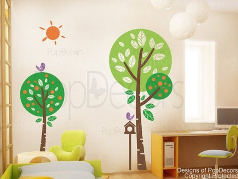 "PopDecors - Sunshine In My Garden (71"" H) - Custom Beautiful Tree Wall Decals for Kids Rooms Teen Girls Boys Wallpaper Murals Sticker Wall Stickers Nursery Decor Nursery Decals"