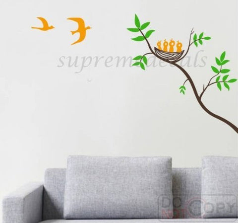 Custom PopDecals - Branch and birds family(47 in high) - Beautiful Tree Wall Decals for Kids Rooms Teen Girls Boys Wallpaper Murals Sticker Wall Stickers Nursery Decor Nursery Decals