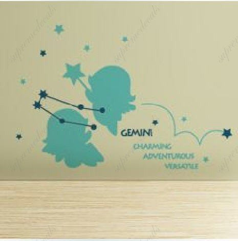 Custom PopDecals - Gemini(constellation) - Beautiful Tree Wall Decals for Kids Rooms Teen Girls Boys Wallpaper Murals Sticker Wall Stickers Nursery Decor Nursery Decals