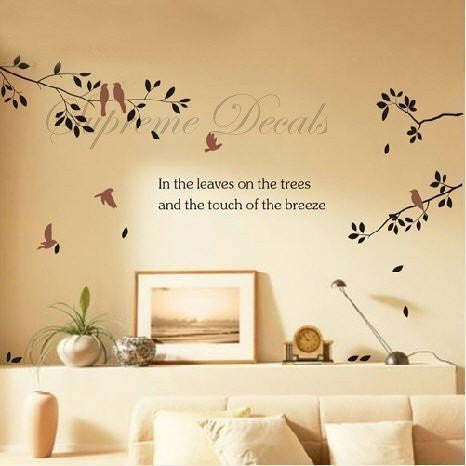 Custom Color PopDecals - Branch and birds - removable vinyl art wall decals sticker