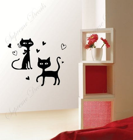 Custom Color PopDecals - Love cats - removable vinyl art wall decals murals home decor - PopDecors,Baby Product, PopDecals, PopDecors