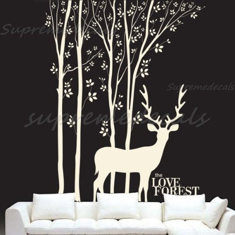 Custom Color PopDecals - Love Forest and Deer vinyl art wall decals home murals - PopDecors,Baby Product, PopDecals, PopDecors