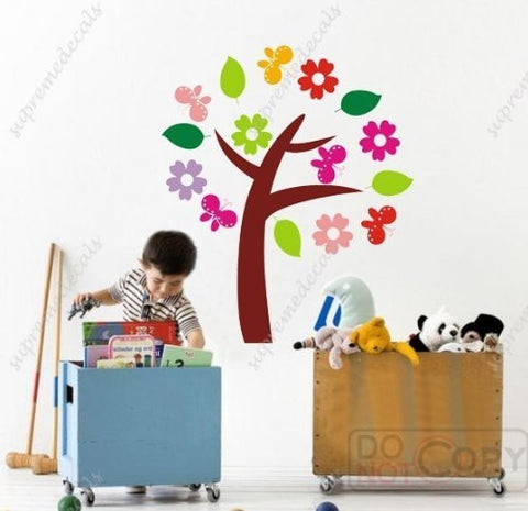 Custom PopDecals - My little flower tree (8 different s) - 57 in high - Beautiful Tree Wall Decals for Kids Rooms Teen Girls Boys Wallpaper Murals Sticker Wall Stickers Nursery Decor Nursery Decals - PopDecors,Home, PopDecals, PopDecors