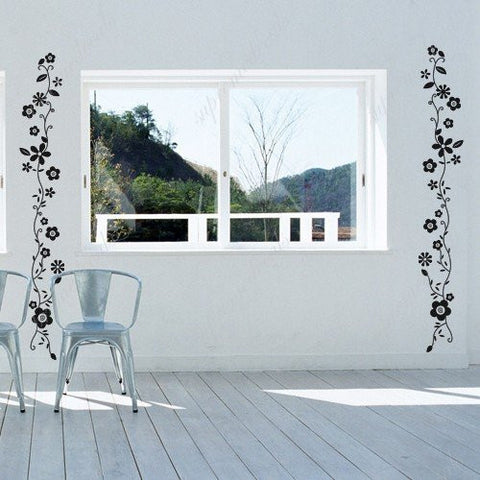 Custom Color PopDecals - Long flower vine (2 sets) - removable vinyl art wall decals murals home decor - PopDecors,Home, PopDecals, PopDecors