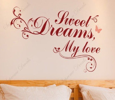 Custom PopDecals - Sweet Dream My Love - Beautiful Tree Wall Decals for Kids Rooms Teen Girls Boys Wallpaper Murals Sticker Wall Stickers Nursery Decor Nursery Decals