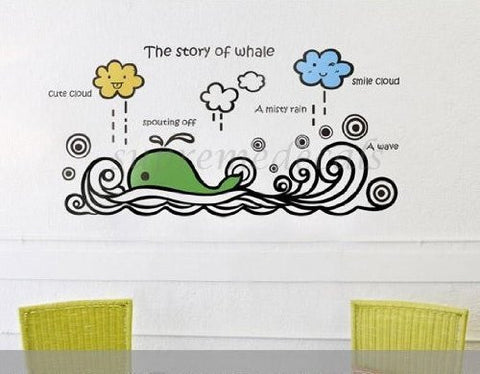 Custom PopDecals - The Story of Whale - Beautiful Tree Wall Decals for Kids Rooms Teen Girls Boys Wallpaper Murals Sticker Wall Stickers Nursery Decor Nursery Decals - PopDecors,Home, PopDecals, PopDecors