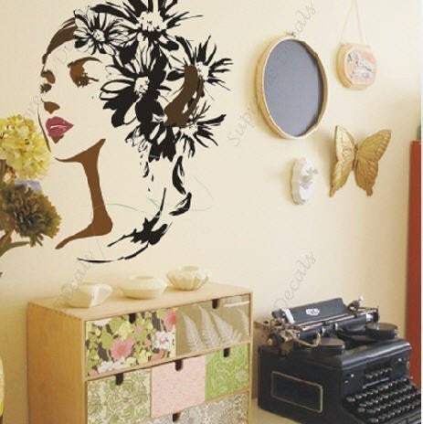 Custom PopDecals - Flower and Woman - Beautiful Tree Wall Decals for Kids Rooms Teen Girls Boys Wallpaper Murals Sticker Wall Stickers Nursery Decor Nursery Decals