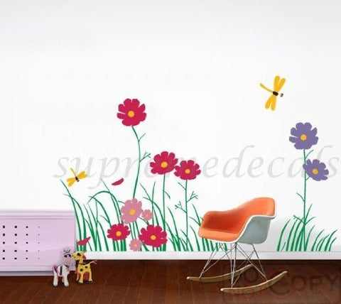 Custom Color PopDecals - NEW DESIGN - Dragonfly and Colorful Flowers - 31.5inch H - Vinyl Sticker Wall Decal for Play Room - PopDecors,Home, PopDecals, PopDecors
