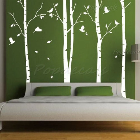 Set of 4 Big Birch Trees in White- 8.5 ft nursery wall decals tree vinyl wall art wall decor sticker wall vinyl stickers pop baby gift - PopDecors,Baby Product, PopDecals, PopDecors