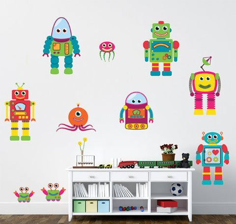 PopDecors Removable Fabric Robots Stickers Kids Wall Decorations Boys Playroom Printed Wall Decals - 10 Robots - Children Must Have Holiday Kids Gift