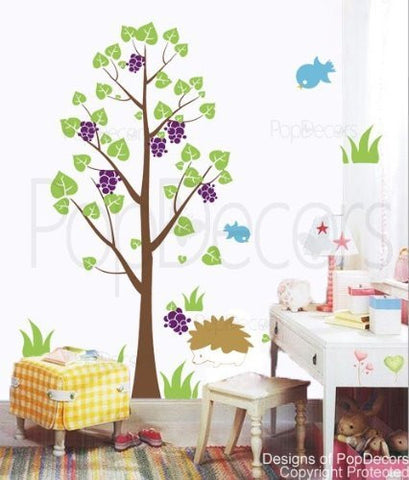 PopDecors - Hedgehog and blackberry- 71 inch H - Custom Beautiful Tree Wall Decals for Kids Rooms Teen Girls Boys Wallpaper Murals Sticker Wall Stickers Nursery Decor Nursery Decals