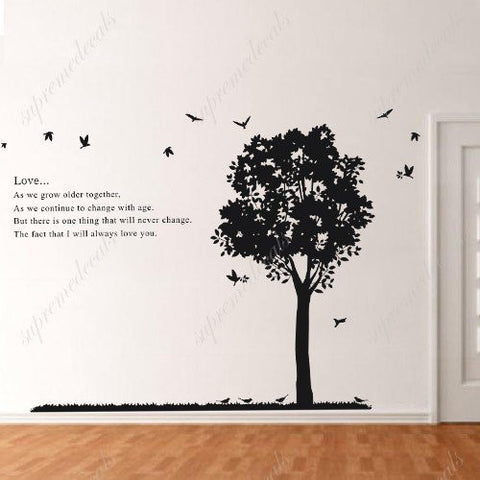 Custom PopDecals - Love poem and tree - Beautiful Tree Wall Decals for Kids Rooms Teen Girls Boys Wallpaper Murals Sticker Wall Stickers Nursery Decor Nursery Decals