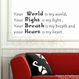 Your World is my World-Quote Decal