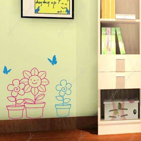 Custom PopDecals - Sunflower and butterfly - Beautiful Tree Wall Decals for Kids Rooms Teen Girls Boys Wallpaper Murals Sticker Wall Stickers Nursery Decor Nursery Decals - PopDecors,Home, PopDecals, PopDecors
