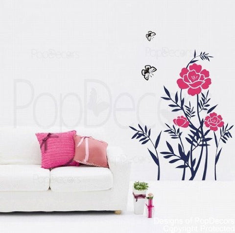 Beautiful Peony Floral Wall Decals - PopDecors,Baby Product, Pop Decors, PopDecors