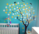 Drifting Flowers and Birds-Wall Decal - PopDecors,Baby Product, Pop Decors, PopDecors