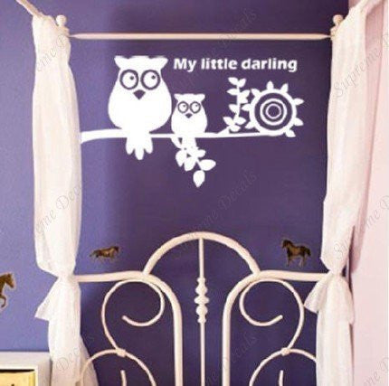 Custom PopDecals - Owl, My Little darling - Beautiful Tree Wall Decals for Kids Rooms Teen Girls Boys Wallpaper Murals Sticker Wall Stickers Nursery Decor Nursery Decals