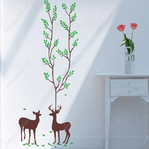 Custom PopDecals - Two deer - Beautiful Tree Wall Decals for Kids Rooms Teen Girls Boys Wallpaper Murals Sticker Wall Stickers Nursery Decor Nursery Decals