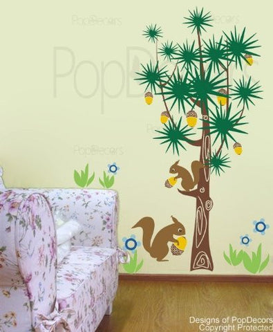 PopDecors - Squirrels and Pine Trees - Custom Beautiful Tree Wall Decals for Kids Rooms Teen Girls Boys Wallpaper Murals Sticker Wall Stickers Nursery Decor Nursery Decals