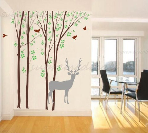 "Custom Color PopDecals - Forest and Deer(102""H) vinyl art wall decals home murals - PopDecors,Baby Product, PopDecals, PopDecors"