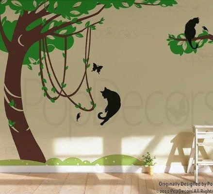 Banyan Tree with Playing Cats-Wall Decal - PopDecors,Baby Product, Pop Decors, PopDecors