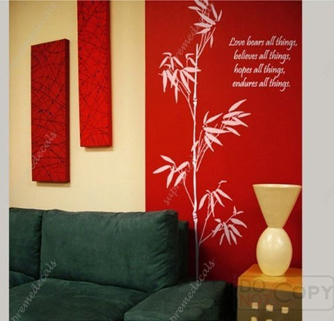Custom Color PopDecals - Oriental Bamboos - 71inch tall - Removable Vinyl Wall Art Decals Stickers for Home Decor