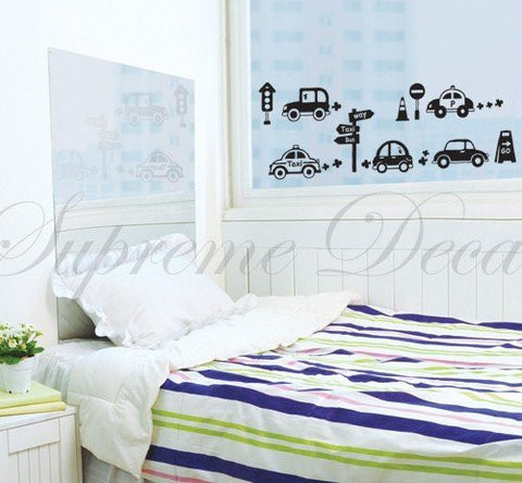 Custom PopDecals - Cars on Street - Beautiful Tree Wall Decals for Kids Rooms Teen Girls Boys Wallpaper Murals Sticker Wall Stickers Nursery Decor Nursery Decals - PopDecors,Home, PopDecals, PopDecors