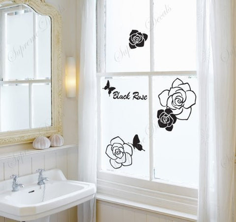 Custom PopDecals - Black Rose and Butterflies - Beautiful Tree Wall Decals for Kids Rooms Teen Girls Boys Wallpaper Murals Sticker Wall Stickers Nursery Decor Nursery Decals
