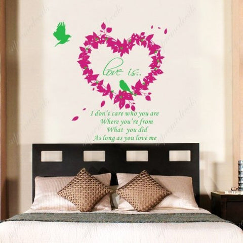 Custom PopDecals - Love is - Beautiful Tree Wall Decals for Kids Rooms Teen Girls Boys Wallpaper Murals Sticker Wall Stickers Nursery Decor Nursery Decals