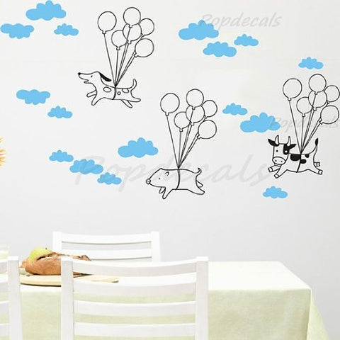 Custom PopDecals - Flying animals - kids playroom - Beautiful Tree Wall Decals for Kids Rooms Teen Girls Boys Wallpaper Murals Sticker Wall Stickers Nursery Decor Nursery Decals