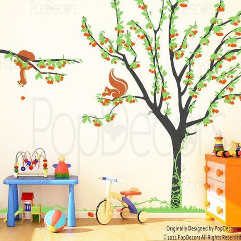 PopDecors - Cherry Tree with Squirrels - Custom Beautiful Tree Wall Decals for Kids Rooms Teen Girls Boys Wallpaper Murals Sticker Wall Stickers Nursery Decor Nursery Decals