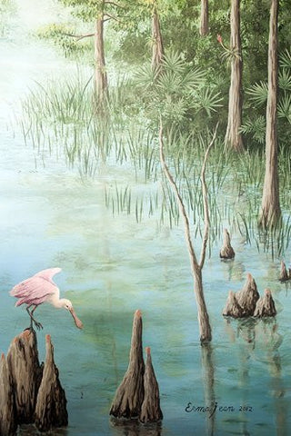 Erma Jean Mural 010 - Trees and Spoonbill Bird- 79 inch H - Trees Wall Mural Nature Forest Wall Papers Spoonbill Bird Interior Digital Art - PopDecors,Home, Pop Decors, PopDecors