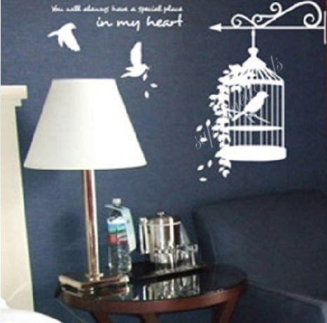 Custom Color PopDecals - Birds and cage - Removable vinyl art wall decals stickers murals home decor