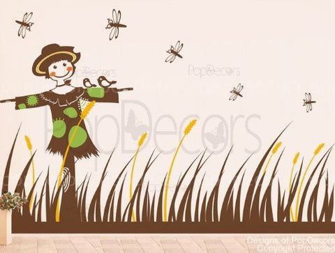 PopDecors - Scarecrow and grass - Custom Beautiful Tree Wall Decals for Kids Rooms Teen Girls Boys Wallpaper Murals Sticker Wall Stickers Nursery Decor Nursery Decals