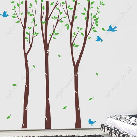 Custom Color PopDecals - Birch Tree Forest with Flying Birds - 8 ft 6inch - Wall Decals Stickers Vinyl Home decor - PopDecors,Home, PopDecals, PopDecors