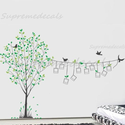 Custom PopDecals - Elegant Photo Tree - Beautiful Tree Wall Decals for Kids Rooms Teen Girls Boys Wallpaper Murals Sticker Wall Stickers Nursery Decor Nursery Decals