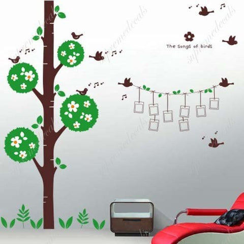 Custom PopDecals - Flower tree and singing birds - Beautiful Tree Wall Decals for Kids Rooms Teen Girls Boys Wallpaper Murals Sticker Wall Stickers Nursery Decor Nursery Decals