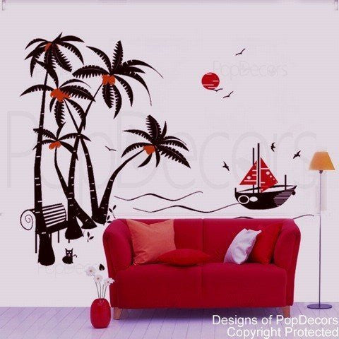 Coconut Trees and Boat-Wall Decal