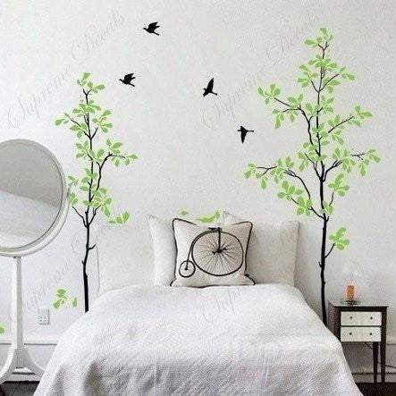 Custom PopDecals - Bedroom - Happy time tree decals - 71 in - Beautiful Tree Wall Decals for Kids Rooms Teen Girls Boys Wallpaper Murals Sticker Wall Stickers Nursery Decor Nursery Decals