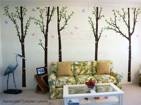Tree Forest with Birds and Butterflies-Wall Decal