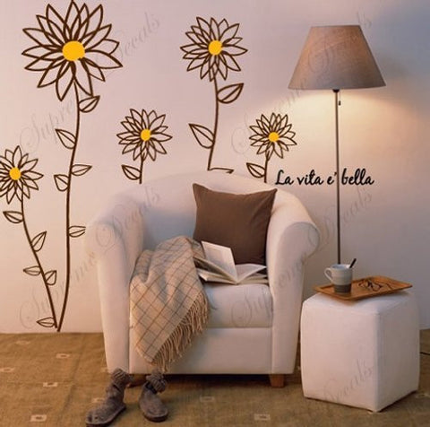 Custom Color PopDecals - Daisy flowers - 55 inch tall - Removable vinyl art wall decals stickers murals home decor - PopDecors,Baby Product, PopDecals, PopDecors
