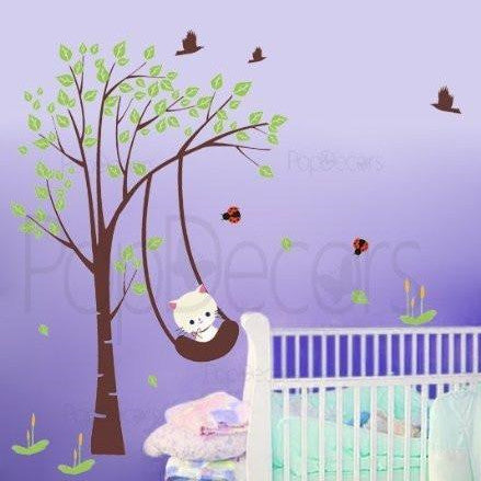 Funny Cat Plays Swing-Wall Decal - PopDecors,Baby Product, Pop Decors, PopDecors