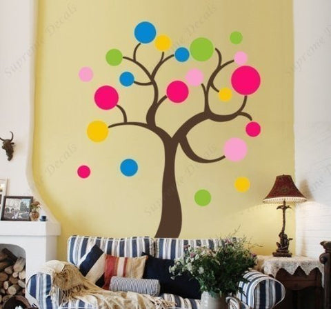 Custom PopDecals - ful Circle Tree (59 in) - Beautiful Tree Wall Decals for Kids Rooms Teen Girls Boys Wallpaper Murals Sticker Wall Stickers Nursery Decor Nursery Decals