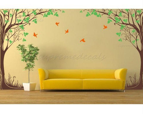 "Custom Color PopDecals - New design - Twin fantasy trees(102""H) vinyl art wall decals home murals - PopDecors,Home, PopDecals, PopDecors"